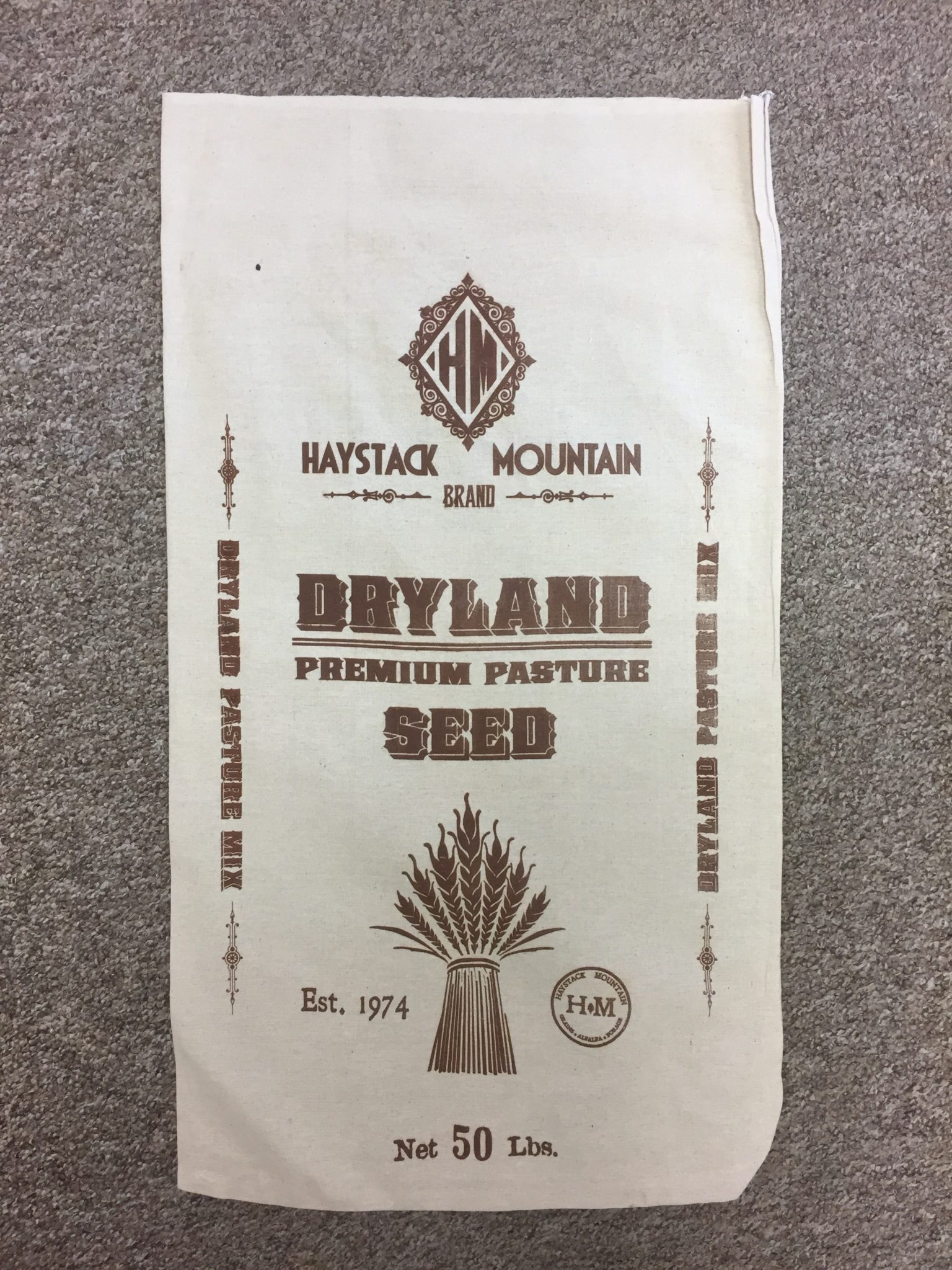 frontside view of a dryland pasture seed bag