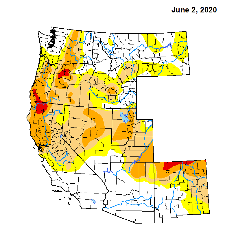 drought map of the western united states